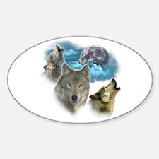 Wolves Moon Sticker (Oval)