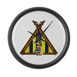 Cute Viking Warrior at Tent Large Wall Clock
