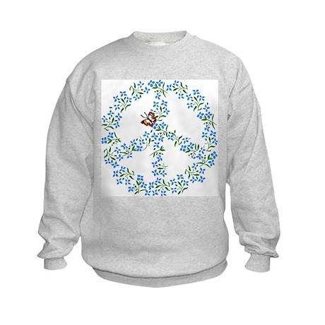 Peace SIgn Flowers Kids Sweatshirt