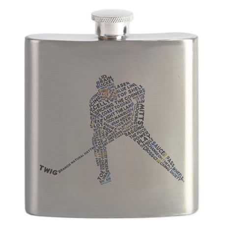 Hockey Player Typography Flask