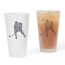 Hockey Player Typography Drinking Glass
