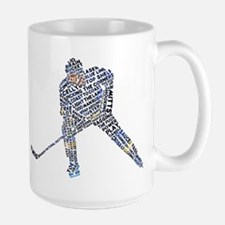 Hockey Player Typography Large Mug