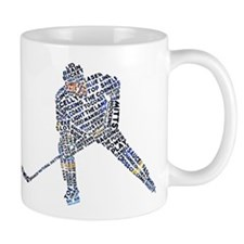 Hockey Player Typography Small Mug