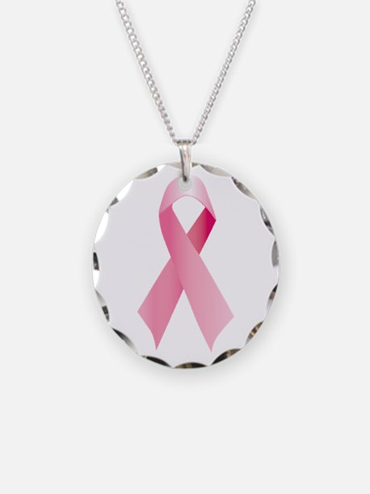 Pink Ribbon Necklace Circle Charm