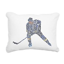Hockey Player Typography Rectangular Canvas Pillow
