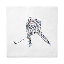 Hockey Player Typography Queen Duvet
