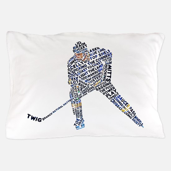 Hockey Player Typography Pillow Case
