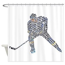 Hockey Player Typography Shower Curtain