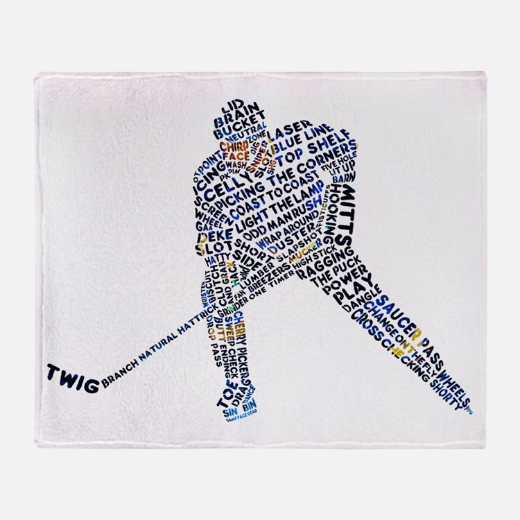 Hockey Player Typography Throw Blanket