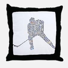 Hockey Player Typography Throw Pillow