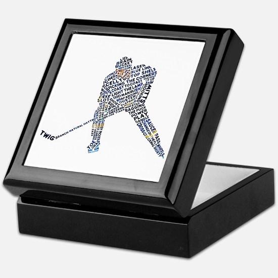Hockey Player Typography Keepsake Box
