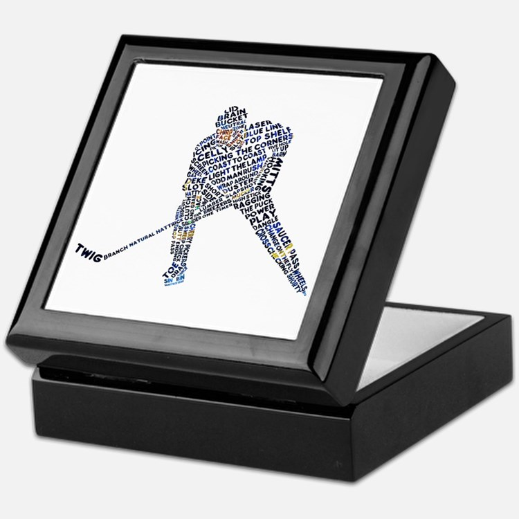 Hockey Player Typography Keepsake Box