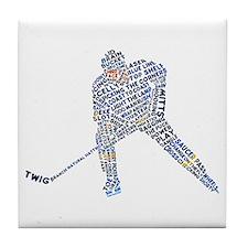 Hockey Player Typography Tile Coaster