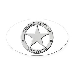Single Action Shooter Oval Car Magnet