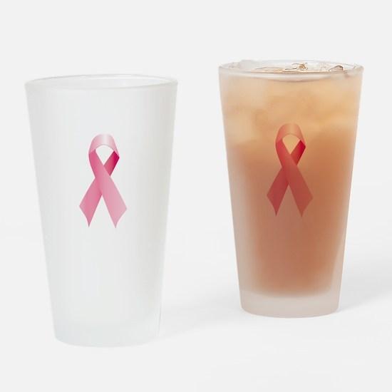 Pink Ribbon Drinking Glass