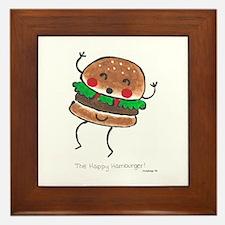 Happy Hamburger Framed Tile