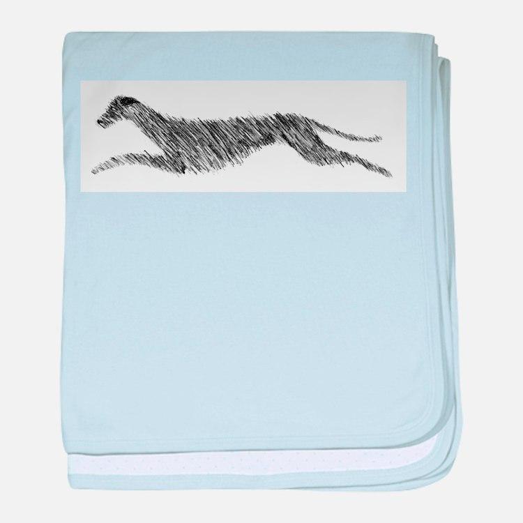 Leaping Scottish Deerhound baby blanket