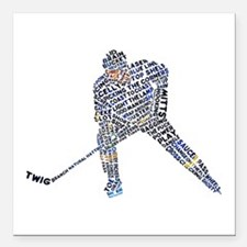 """Hockey Player Typography Square Car Magnet 3"""" x 3"""""""