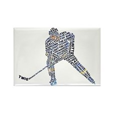 Hockey Player Typography Rectangle Magnet (10 pack