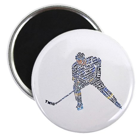 """Hockey Player Typography 2.25"""" Magnet (100 pack)"""