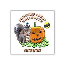 """Halloween Squirrel Square Sticker 3"""" x 3"""""""