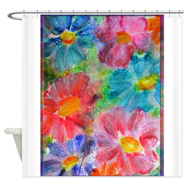 flowers bright floral art shower curtain by meowriesnewwork