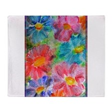 Flowers! Bright floral art! Throw Blanket