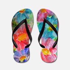 Flowers! Bright floral art! Flip Flops