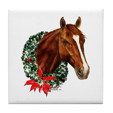 Christmas Holiday Horse Tile Coaster