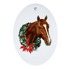 Christmas Holiday Horse Ornament (Oval)