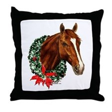 Horse and Wreath Throw Pillow