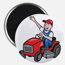 Farmer Driving Ride On Mower Tractor Magnet