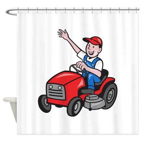 Farmer Driving Ride On Mower Tractor Shower Curtai
