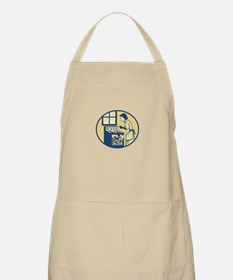 Housewife Baker Baking in Oven Stove Retro Apron