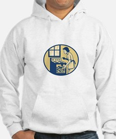 Housewife Baker Baking in Oven Stove Retro Hoodie