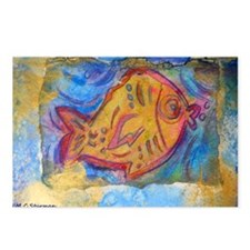 Fish, bright, primitive art! Postcards (Package of