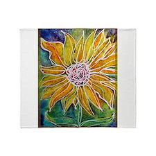 Sunflower! Bright, flower art! Throw Blanket
