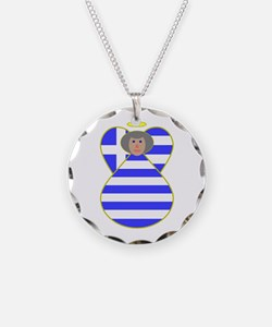 Greek Flag Angel Gray Hair Necklace
