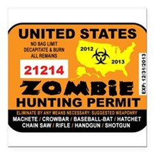 "ZombiePermit Square Car Magnet 3"" x 3"""