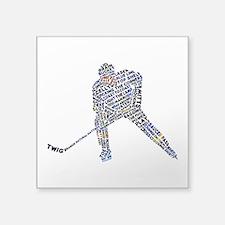 "Hockey Player Typography Square Sticker 3"" x"