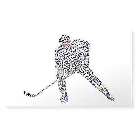 Hockey Player Typography Sticker (Rectangle)