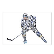 Hockey Player Typography Postcards (Package of 8)