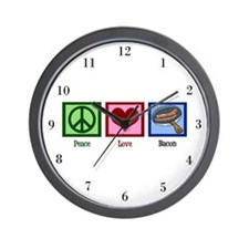 Peace Love Bacon Wall Clock