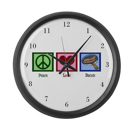 Peace Love Bacon Large Wall Clock