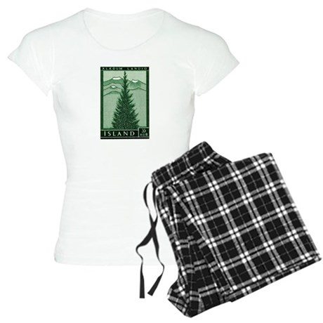 1957 Iceland Spruce with Volcanoes Stamp Women's L
