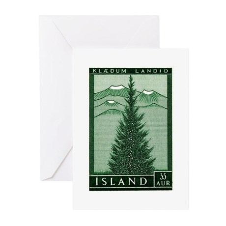 1957 Iceland Spruce with Volcanoes Stamp Greeting