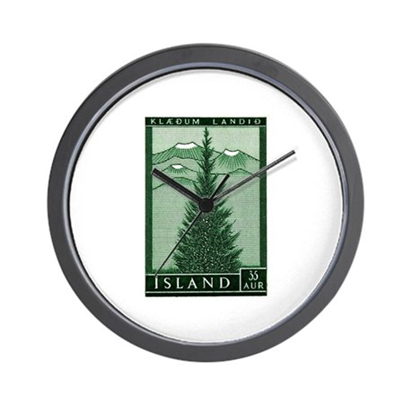 1957 Iceland Spruce with Volcanoes Stamp Wall Cloc