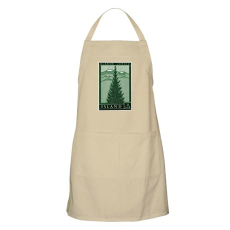 1957 Iceland Spruce with Volcanoes Stamp Apron