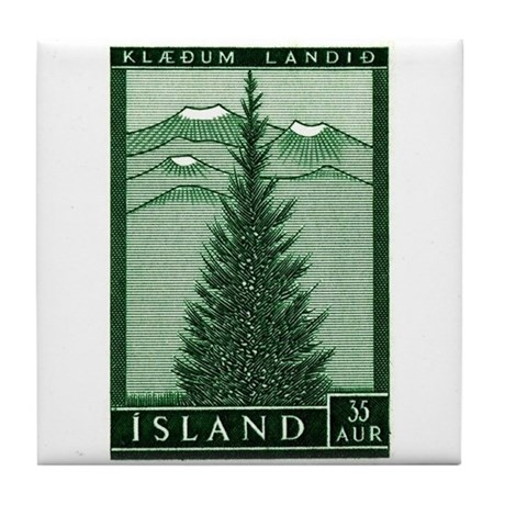 1957 Iceland Spruce with Volcanoes Stamp Tile Coas
