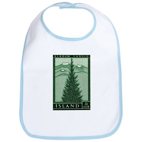 1957 Iceland Spruce with Volcanoes Stamp Bib